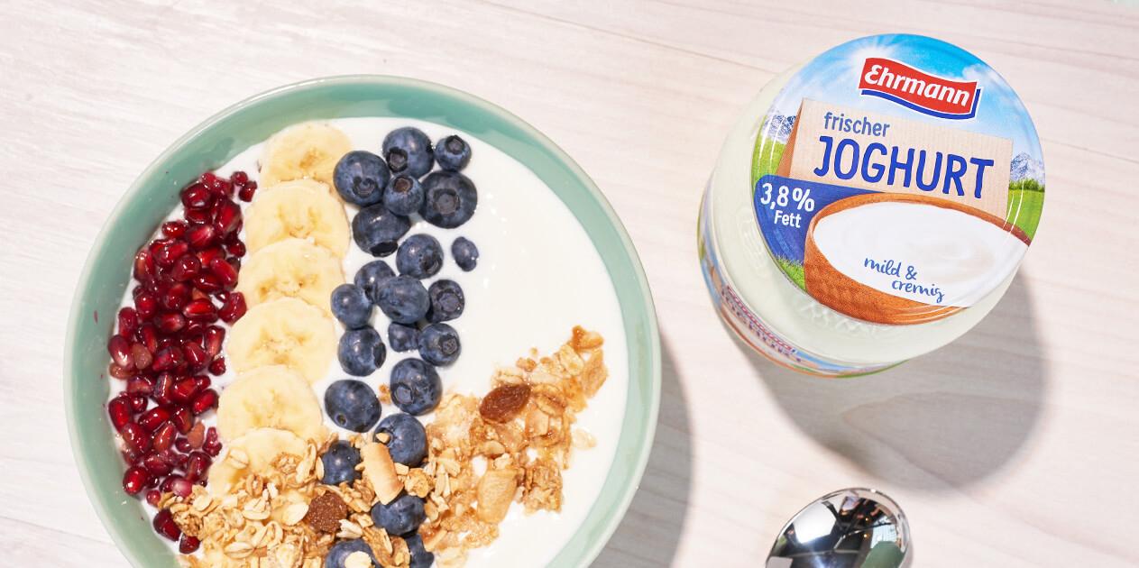 Cremig, mild und leicht:<br>Frischer Joghurt von Ehrmann