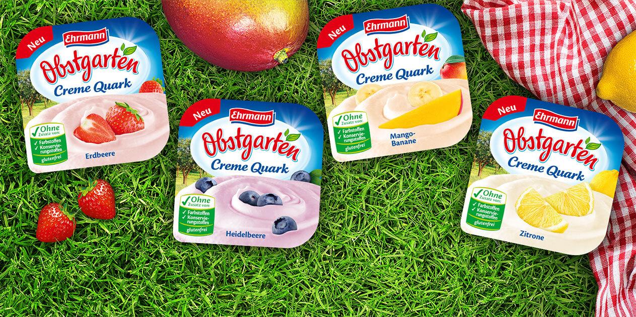 Ein einmaliges Geschmackserlebnis in vier Sorten:<br>der erste gerührte und besonders cremige Fruchtquark von Obstgarten.