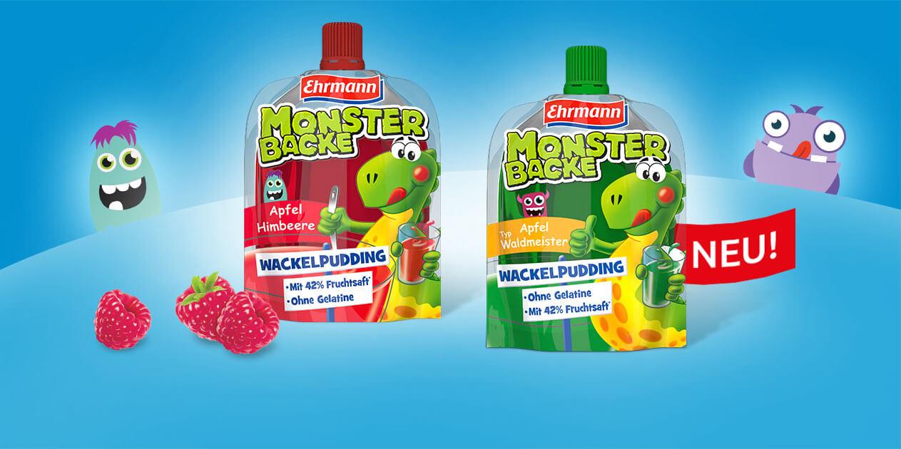 Monstermäßig-fruchtiger Nasch-Spaß:<br>der erste Wackelpudding zum Quetschen mit dem Plus an Fruchtsaft.